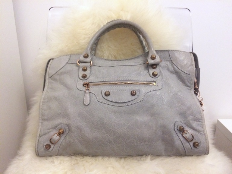 sac balenciaga giant city gris rivets rose gold