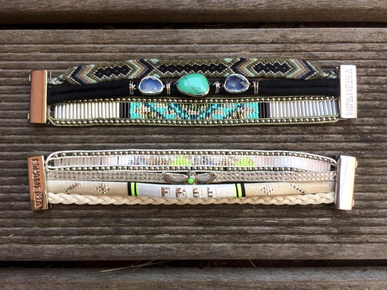 bracelets manchette hipanema noir kaki blanc