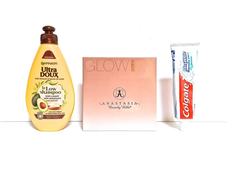 avis produits beauté low shampoo ultra doux garnier glow kit anastasia beverly hills colgate max white