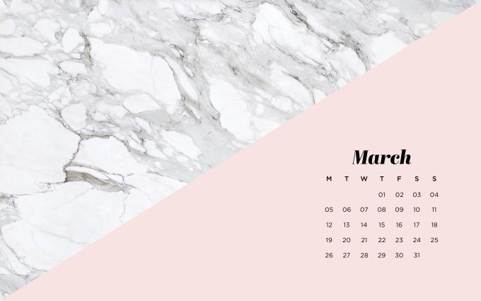 fond d'écran marbre calendrier agenda ordinateur mars wallpaper background march desktop marble