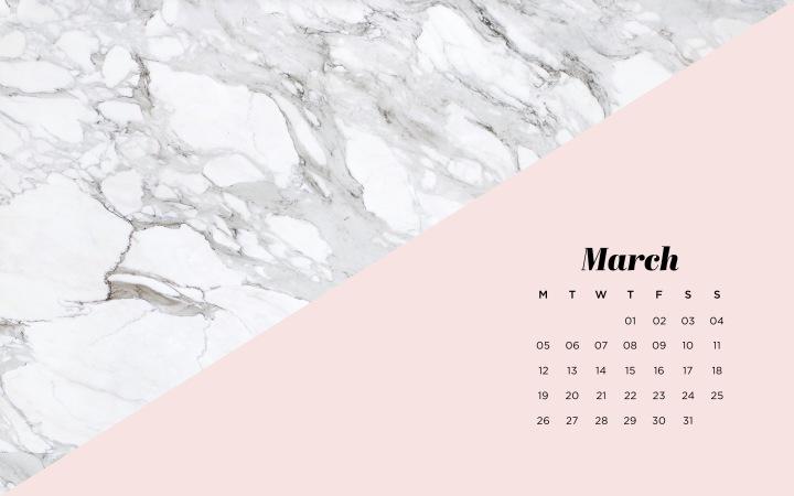 Fonds d'écran calendrier marbre pourordinateur