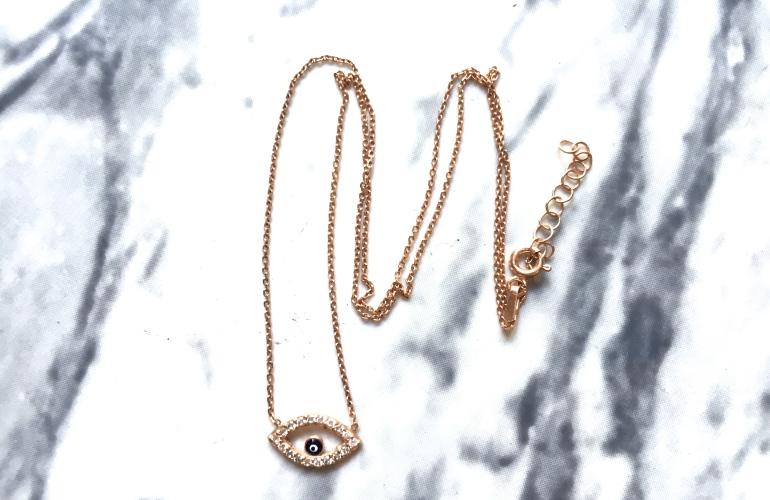 collier grec or rose gold zircon evil eye